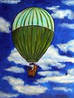 Basset hound in a hot air balloon  picture  DOG ART NOTE CARDS