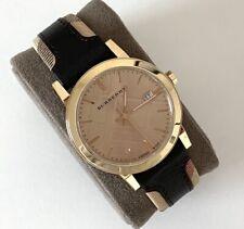 Burberry Watch Gold Dial Tan Burgundy Black Strap 38mm