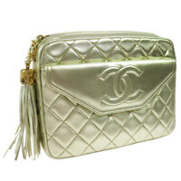 CHANEL Quilted Chain Quilted Shoulder Bag Gold Vintage GHW Authentic AK31438g