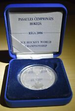 1 Lats Ice Hockey World Championships Latvia Lettland 2005 silver coin PROOF