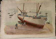 """Tableau Peinture Aquarelle PIERRE ABADIE LANDEL """" Douarnenez"""" 1954 PAL10"""