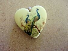 "Heart Shaped peacock picture  pendant 1.75"" long  NO chain"