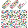 Nail Art Water Decals Stickers Transfers Wraps PINK BLUE Flowers Gel Polish 463