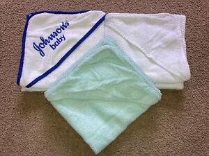 3 x Baby Hooded Bath Towels