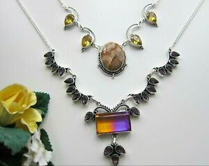 Mookalite, Picture Jasper, Ametrine, Amethyst or other Gem Necklace.