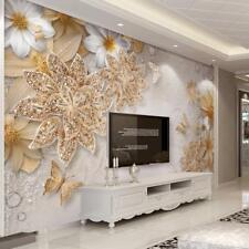 Home Mural Wallpaper For Bedroom Living Roo Wall 3D Luxury Gold Flower Butterfly