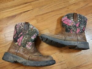 Ariat 10012827 Women's 9B Brown Leather w/ Pink Camo Uppers Ride Boots