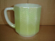 Vintage Unusual Moonglow Shell Green Iridescent by Federal Milk Glass Coffee Cup