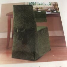 Waverly Classics Hunter GREEN VELVET ARMLESS DINING CHAIR COVERS 1 Fancy Damask