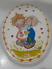 Vintage Betsey Clark style wall mount Plaque oval Frame hand painted signed