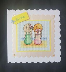 Completed Cross Stitch Card - Birthday etc - Beach girls