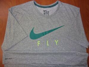Nike Fly Swoosh Logo Dri-Fit Performance Cotton Blend Athletic Cut Shirt XL NEW