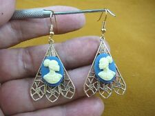 CAE1-26) RARE African American LADY blue + ivory CAMEO dangle Earrings JEWELRY