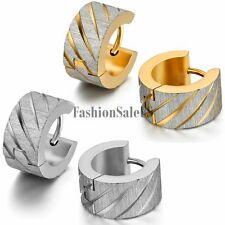 2pcs Men's Wide Stainless Steel Knurling Pattern Shining Huggie Hoop Earrings