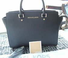Genuine Women's Michael Kors selma Satchel Saffiano Leather handbag black L hot