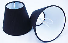 6 Candle Lampshades Handmade in UK - 100% Pure Dupion Silk Black