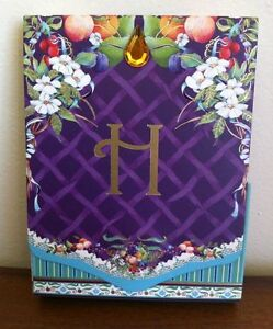 New Notepad Letter H with Fruit and Flowers Small with Magnetic Close