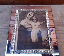 Ancien cadre photo en verre à poser, la vierge et l'enfant.