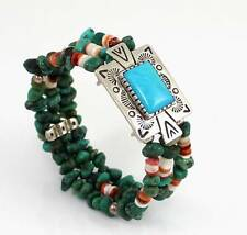 Carolyn Pollack Relios Sterling Silver Turquoise Bead Coil Bracelet W/ Box LDB5