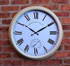 """Reloj de pared exterior de jardín metálica grande 24 """"termómetro 61cm Color Crema 1044"""