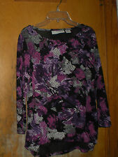 Sag Harbor Stretch Top Size Small Purple Decorative Beaded Neckline 3/4 Sleeves