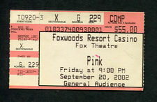 Original 2002 Pink Concert Ticket Stub Foxwoods Resort CT  Missundazstood