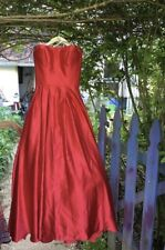 Holiday Red Satin Strapless Formal Prom Dress Long With pockets Size 2 NWT