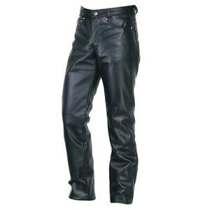 Men's Real Leather Bikers 5 Pockets Pants 501 Jeans Pants + FREE LEATHER BELT