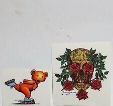Lot-2 NEW Mint Vintage Grateful Dead '93 Bear, Skull & Roses Window  Decals