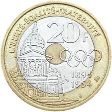 France 20 francs 1894-1994 KM#1036 Pierre de Coubertin - Olympic Games Committee