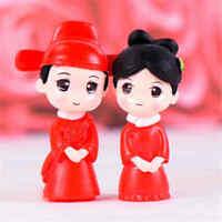 2Pcs Ancient Couple Miniatures For Fairy Garden Gnomes Moss Terrariums Decor_LS