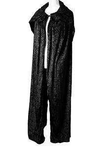 Black Velvet Long Hooded Cloak Cape Goth Medieval One Size