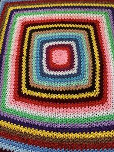 Handmade Cuddly Rainbow Striped Neutral Granny Square Crochet  Blanket or Throw