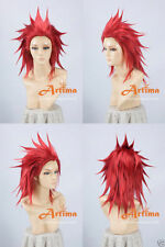 Kindom hearts Axel Red Anime Cosplay Costume Wig + Track Number +CAP