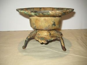 Vintage Antique Cast Iron 2 Piece Pillar Candle Holder - Nice Patina!