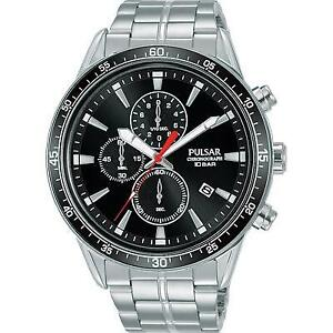 Pulsar Mens Stainless Steel Chronograph Black Dial Watch PM3205