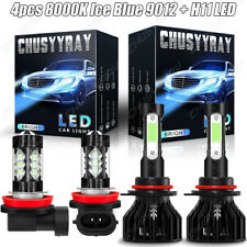 For Fiat 500 2012-2019 Combo 4X LED Headlight +Fog Light Lamp Bulbs Kit Ice Blue