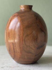 Hearth and Hand Magnolia Wooden Vase with Glass Insert - Retired Oval Segmented