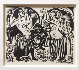 """Ernst Kirchner unsigned woodcut """"Dancers"""" from 1924  Book German Expressionist"""
