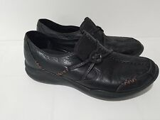 CLARKS Wave Black Leather Slip On Walking Loafers Shoes Comfort Womens 9.5 M