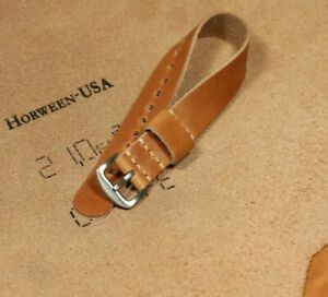 Watch strap leather Horween natural brown, Handmade strap 18mm 20mm 22mm 24mm
