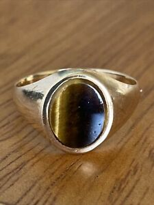 Vintage Gents 9ct Gold Tigers Eye Signet Ring  ~ Size O ~ London 1977 ~ Fab!!
