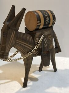 Vintage Hand Carved  Wooden Donkey/Mule with water barrel bucket