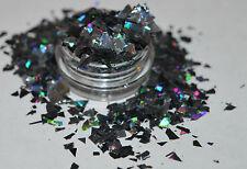 Hermoso Arte en Uñas Negro de Mylar de cristal roto para aplicaciones de Acrílico/GEL