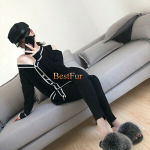 Womens Real Fox Fur Slides Indoor Outdoor Beach Sandals Slippers Holiday Shoes