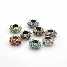 5pcs Vintage Large Hole Alloy Rhinestone Rondelle European Beads Bracelet Making