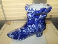 Vintage Blue And White Porcelain Chinese High Heel Shoe Figurine Planter