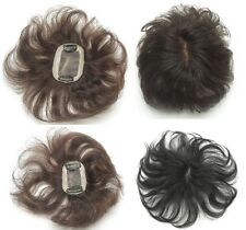 """100% human hair replacement top piece wiglet clip in/on hair for women men 6.7"""""""