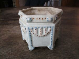 Antique Weller / Roseville?  Beaded Squeeze Bag Decorated Planter with insert NR