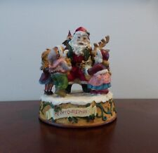 "Vtg Music Box-Santa & Deer w/ Children-""Jingle Bells""-Great Detail-Ex. Cond!"